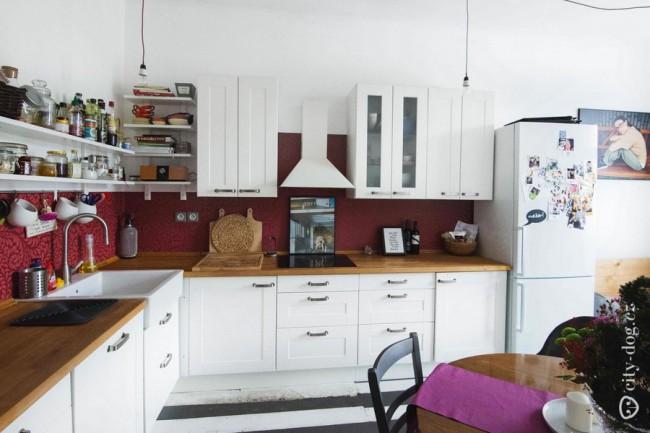 Дизайн кухни 15 кв м в скандинавском стиле в пражской квартире