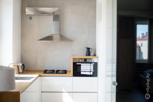 Зона кухни 8 кв м в квартире-студии в стиле лофт