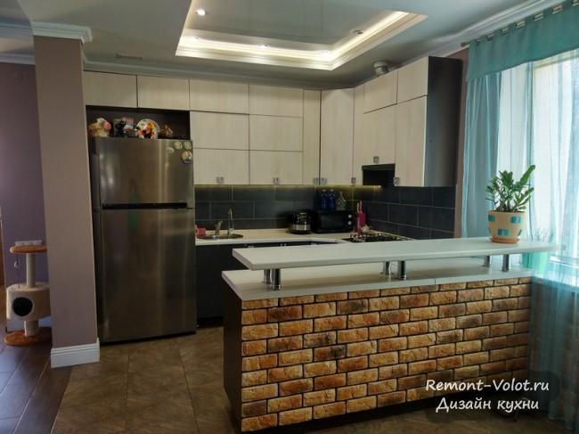 Дизайн кухни 18 кв м с барной стойкой и большим обеденным столом на 6 человек