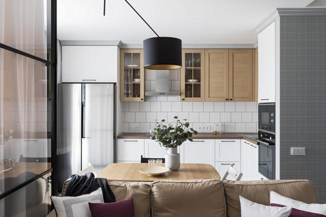 Стильная кухня-гостиная 14 кв м в дизайнерской однушке